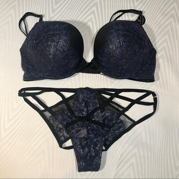 698891553b Bombshell Bra 34C Set Victoria s Secret Black NWT